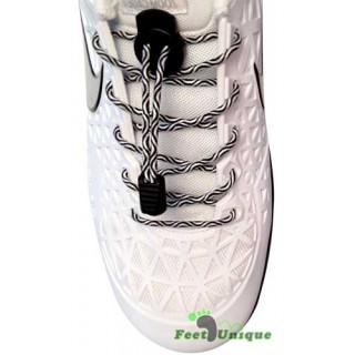 Lacets élastiques noir et blanc avec lock
