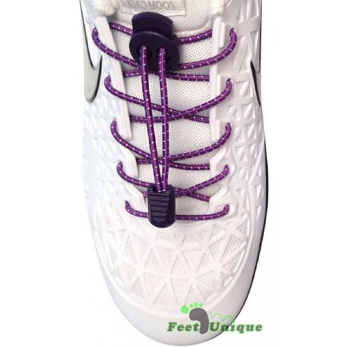 Lacets élastiques violet à rayures avec lock