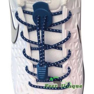 Lacets élastiques à rayures bleu marine avec lock