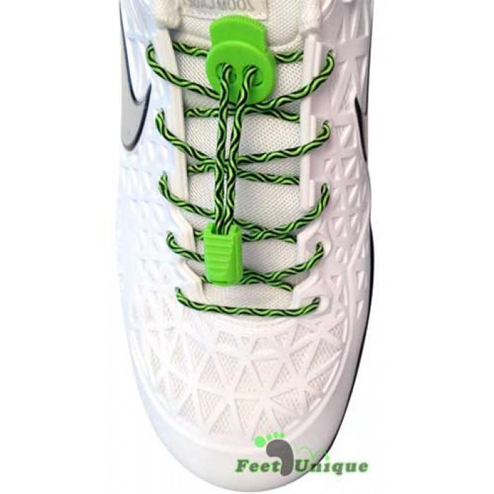 Lacets élastiques noir et vert avec lock