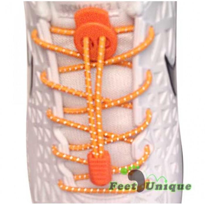 Lacets élastiques orange fluo avec lock