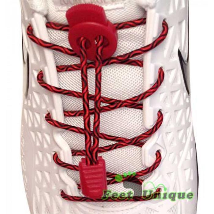 Lacets élastiques noir et rouge avec lock