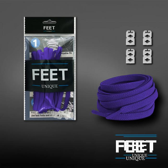 Lacets plats élastiques violet (sans noeud)