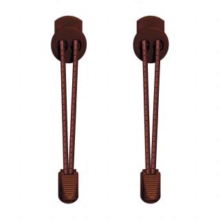 Lacets élastiques à rayures marron foncé avec lock