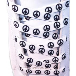 Lacets plats blanc motif Peace