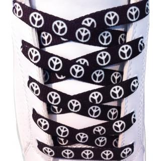 Lacets plats noir motif Peace