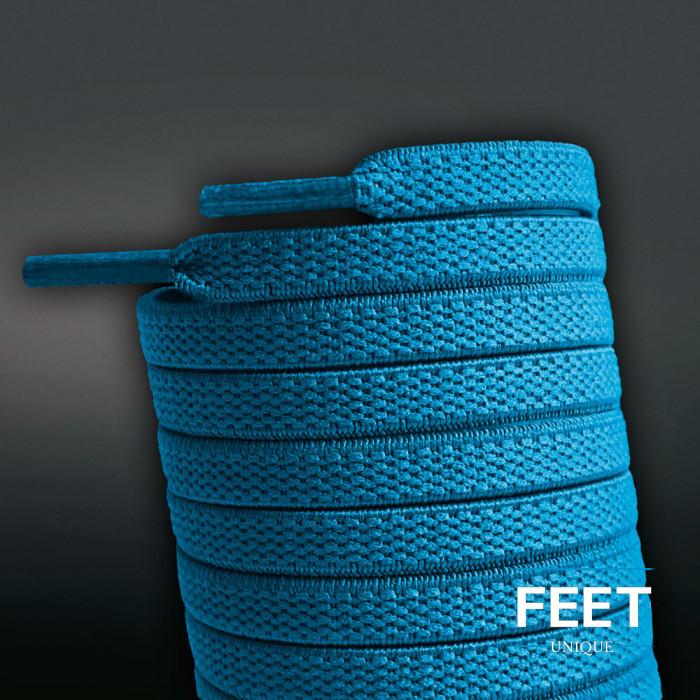 Lacets plats élastiques bleu turquoise (sans noeud)