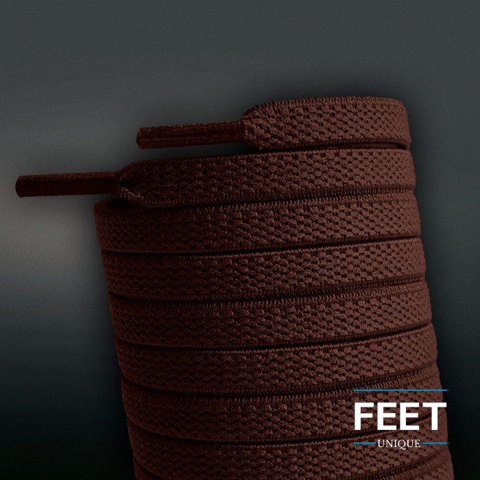 Lacets plats élastiques marron foncé (sans noeud)