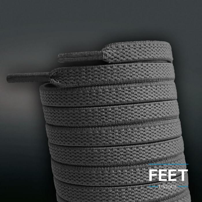 Lacets plats élastiques gris foncé (sans noeud)