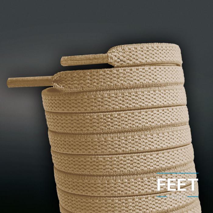 Lacets plats élastiques marron clair (sans noeud)