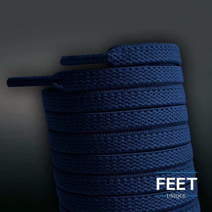 Lacets plats élastiques bleu marine (sans noeud)