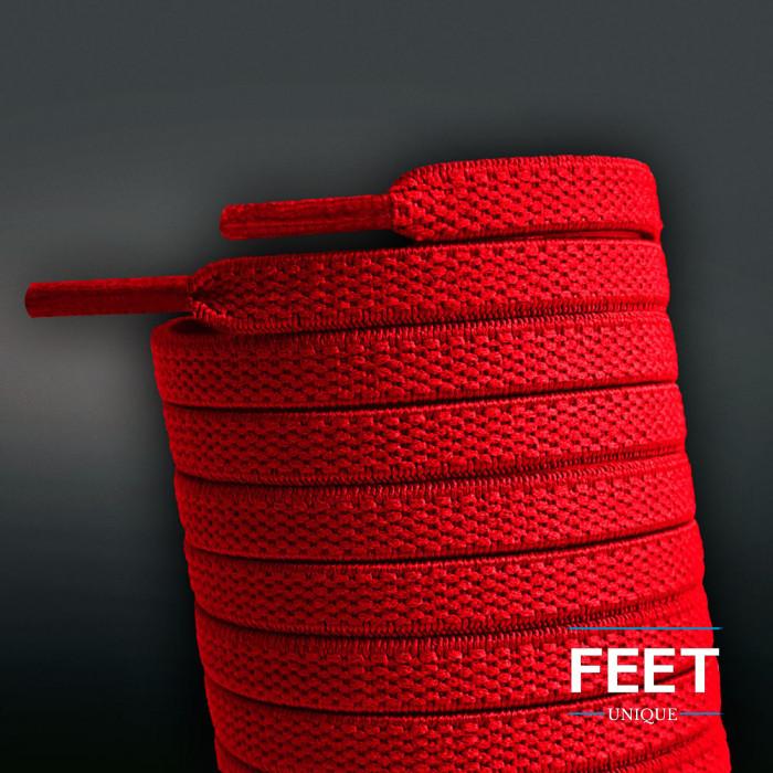 Lacets plats élastiques rouge (sans noeud)