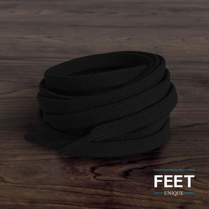 Lacets plats élastiques noir (sans noeud)