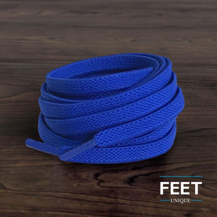 Lacets plats élastiques bleu (sans noeud)