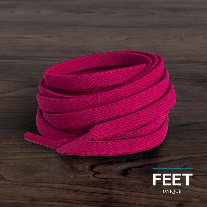 Lacets plats élastiques rose fluo (sans noeud)