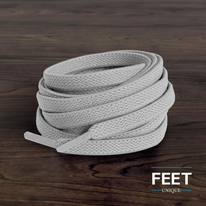 Lacets plats élastiques gris clair (sans noeuds)