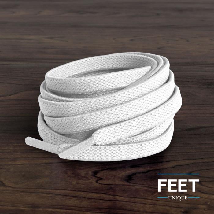 Lacets plats élastiques blanc (sans noeud)