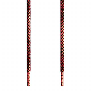 Lacets tressés noir et rouge métallisé